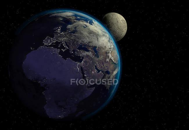 Planète Terre avec lever du soleil dans l'espace, villes lumières et lune, Europe, Asie et Afrique vue. — Photo de stock