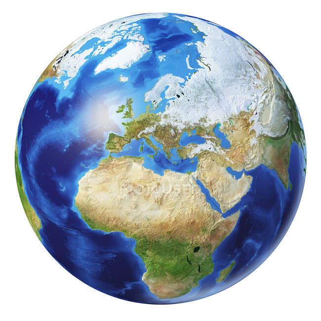 Європа сторона земної кулі, детальний і фотореалістичний малюнок 3d. — стокове фото