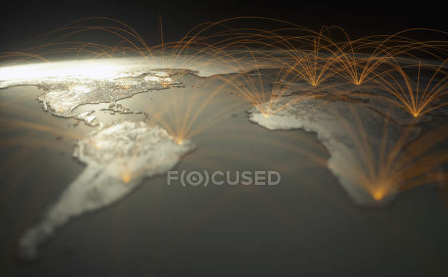 Illustrazione digitale della rete globale sul pianeta Terra, concetto di connettività mondiale . — Foto stock