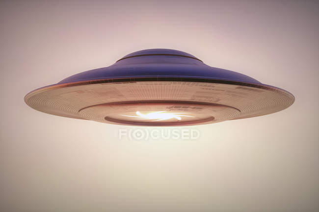 Unidentified flying object traditional saucer in sky, digital illustration. — Stock Photo