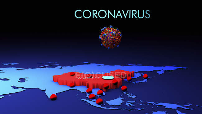 La propagation du coronavirus 2019-CoV est apparue à Wuhan, en Chine, illustration numérique conceptuelle . — Photo de stock