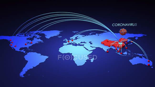 Распространение коронавируса MERS-Cov произошло в Китае. — стоковое фото