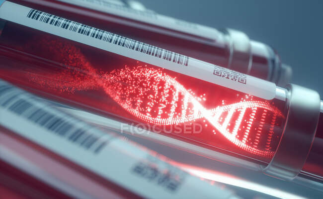 Genetic research, conceptual illustration. DNA (deoxyribonucleic acid) molecule in blood sample tubes in a centrifuge. — Stock Photo