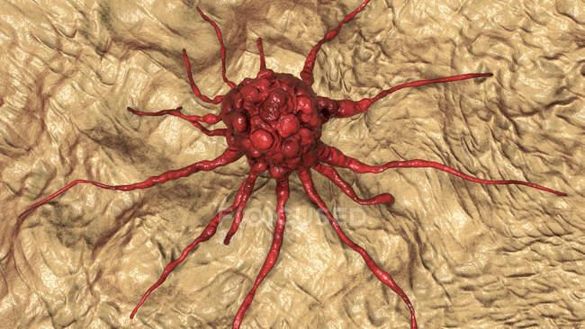 Célula cancerosa, ilustración informática - foto de stock