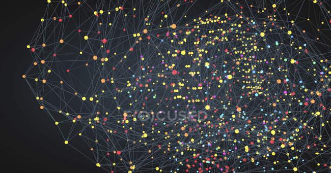 Le cerveau humain représenté par des points lumineux reliés par des lignes, illustration 3D . — Photo de stock