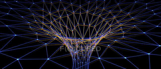 Abstrakte Darstellung eines Wurmlochs bestehend aus Linien und Punkten, 3D-Illustration. — Stockfoto
