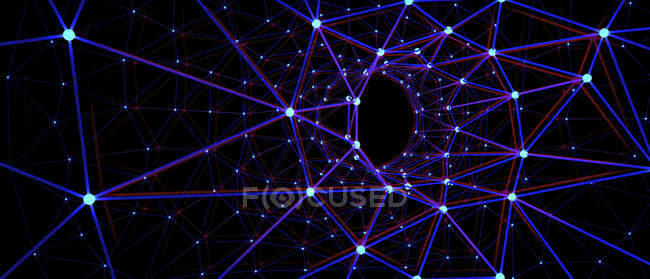 Abstract representation of a wormhole consisting of lines and points, 3d illustration. — Stock Photo