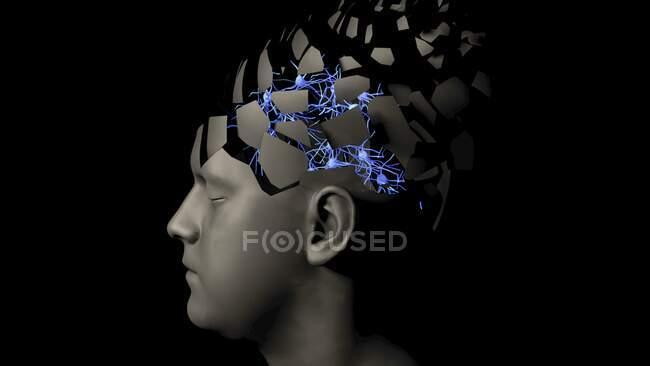 Neuronas cerebrales, ilustración conceptual - foto de stock