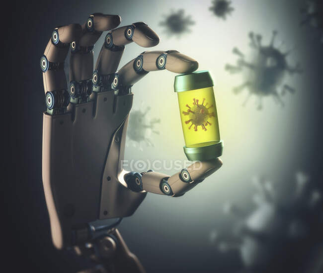 Robotic hand holding vial containing coronavirus — Stock Photo