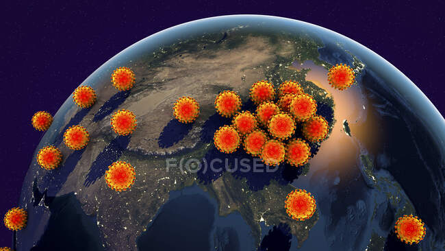 Propagation mondiale des coronavirus, illustration conceptuelle par ordinateur — Photo de stock