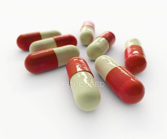 Image générée par ordinateur de gélules modélisées sur échantillon de fluoxétine — Photo de stock