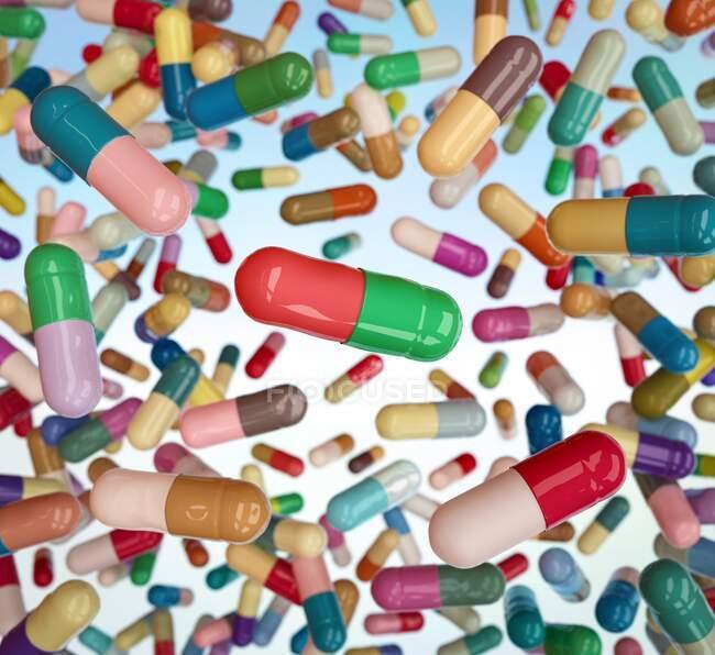Centenas de cápsulas médicas flutuando e caindo — Fotografia de Stock