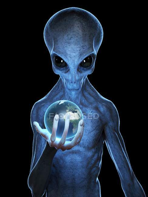 Alien hält Erde, Computerillustration — Stockfoto