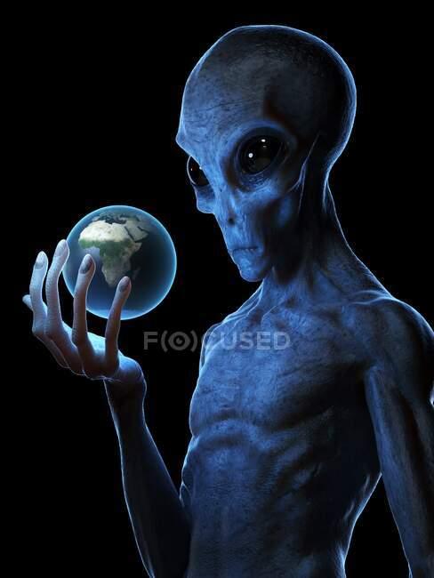 Extraterrestre sosteniendo la Tierra, ilustración por computadora - foto de stock