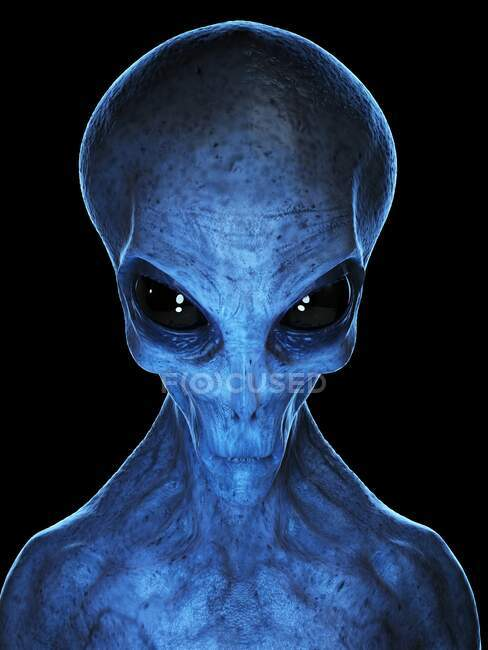 Blue Alien, computer illustration — Stock Photo