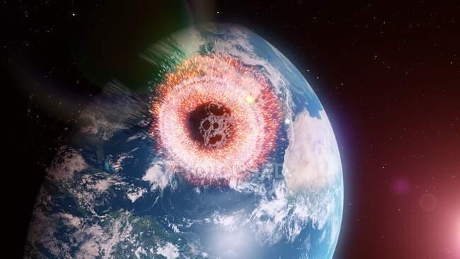 Астероїд впливає на Землю, комп'ютерна ілюстрація. — стокове фото