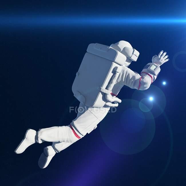 Astronauta en el espacio, ilustración por ordenador - foto de stock