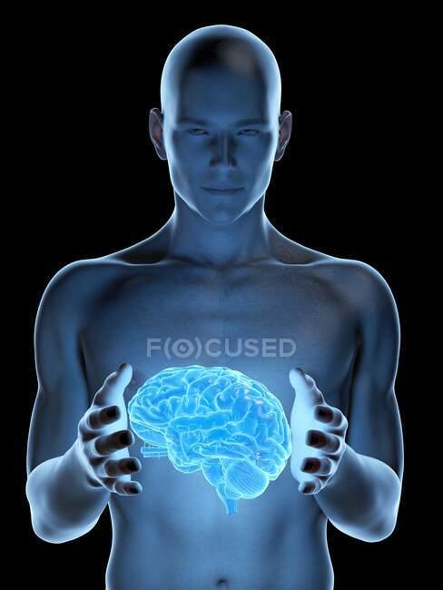 Hombre sosteniendo un cerebro, ilustración por computadora . - foto de stock