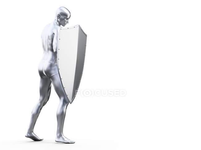 Uomo in posa difensiva, illustrazione al computer — Foto stock