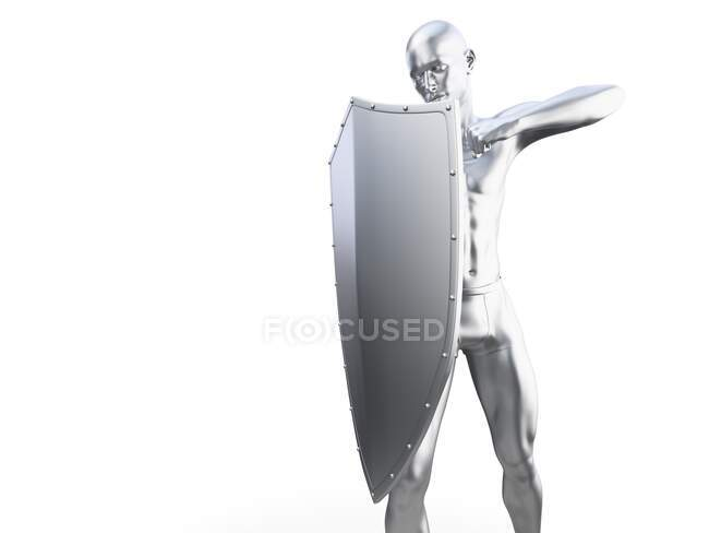 Man in defensive pose, computer illustration — Stock Photo