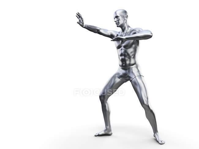 Homem em pose defensiva, ilustração computacional — Fotografia de Stock