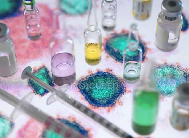 Pesquisa farmacêutica. Potenciais novos medicamentos e vacinas no microscópio eletrônico do vírus — Fotografia de Stock