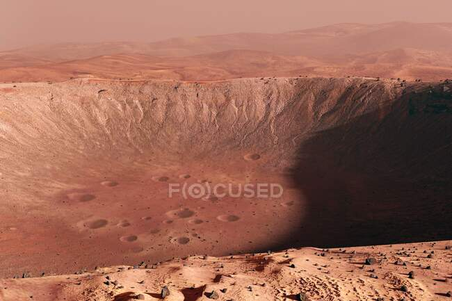 Illustration of a view over the rim of a crater on Mars. Mars is the fourth planet in our Solar System, and the subject of more space missions than any other world. — Stock Photo