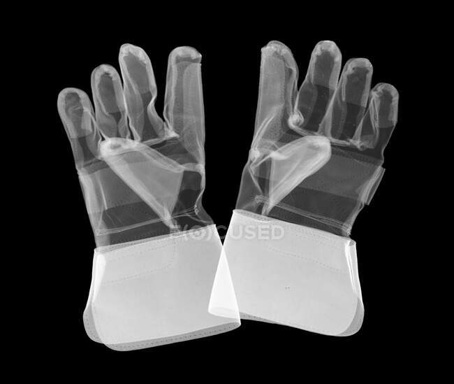 Gauntlet work gloves, X-ray. — Stock Photo