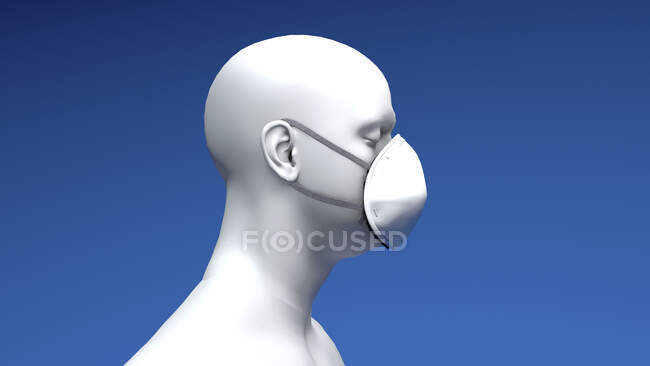 Illustration of a man wearing an N95 face mask. An N95 mask is tight-fitting and has layers that filter out 95% of airborne particles. — Foto stock