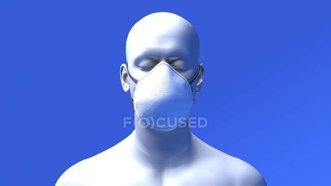 Ilustração de um homem usando uma máscara facial N95. Uma máscara N95 é apertada e possui camadas que filtram 95% das partículas transportadas pelo ar. — Fotografia de Stock