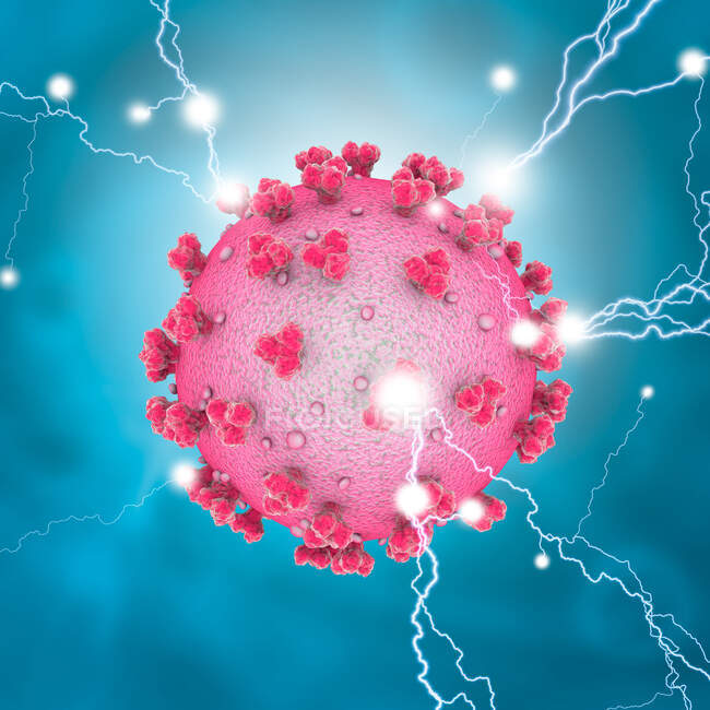 Covid-19 coronavirus particle, computer illustration. The new coronavirus SARS-CoV-2 (previously 2019-CoV) emerged in Wuhan, China, in December 2019 — Stock Photo