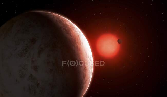 At 11 light-years distance, Gliese 887 is one of the closest stars to the Sun. A red dwarf, it is dimmer than the Sun and about half its size, which means its habitable zone is much closer in — Stock Photo