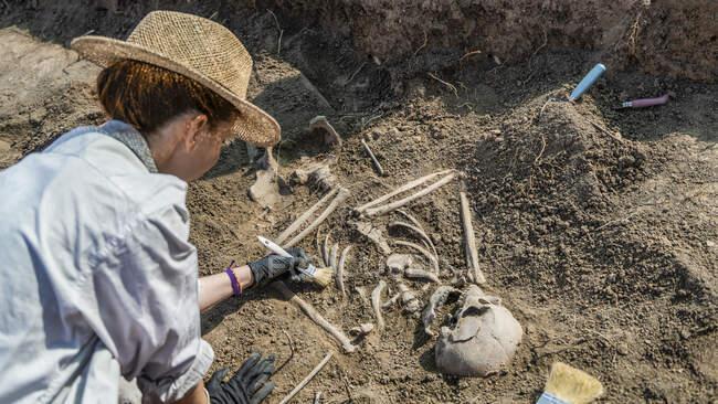 Археологія. Розкопки людських останків з давнього поховання.. — стокове фото