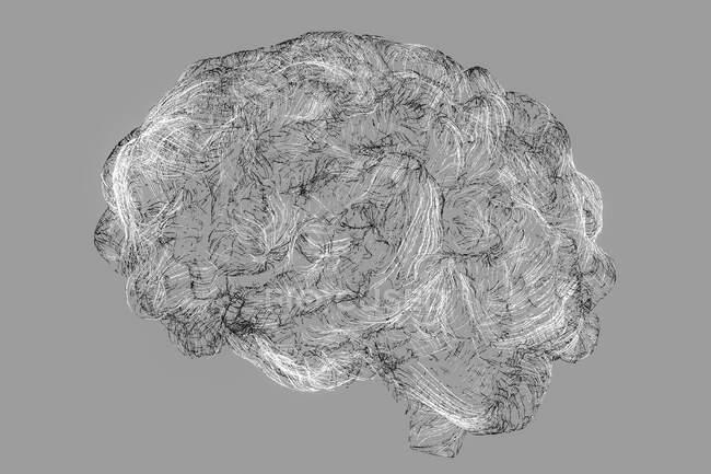 Rede neural cerebral, ilustração computacional. — Fotografia de Stock