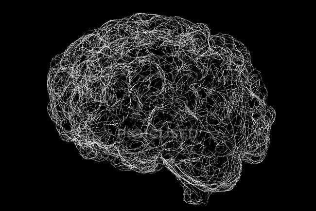 Réseau neuronal cérébral, illustration informatique. — Photo de stock