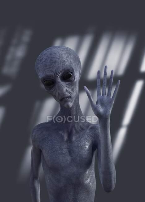 Un extraño extraterrestre, ilustración - foto de stock