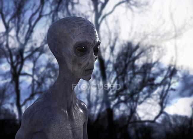 One strange Alien, illustration — Stock Photo