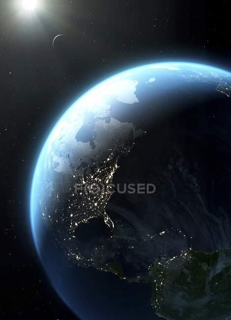 Створення планети Земля, яку видно з космосу. На зображенні зображена частина Північної і Південної Америки, і Атлантичний океан. Також можна побачити частину Гренландії та Європи, в тому числі Іспанію та Ісландію.. — стокове фото