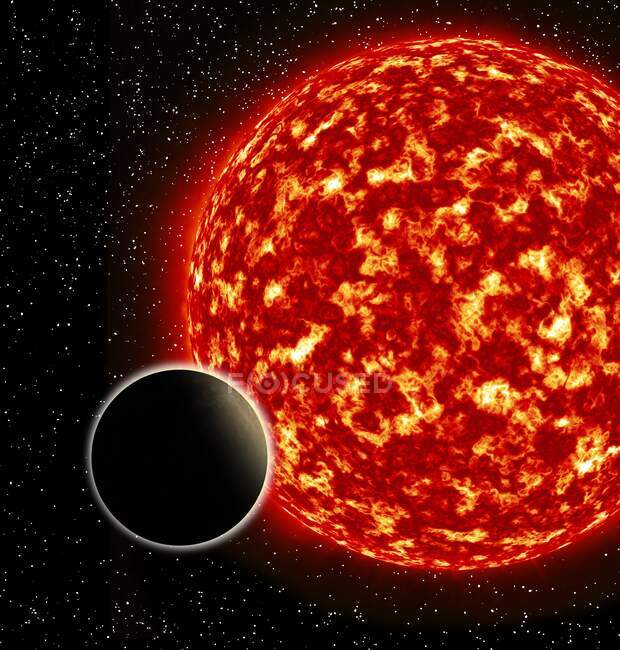 Illustration of an exoplanet, a planet outside of the solar system that orbits another star. — Stock Photo