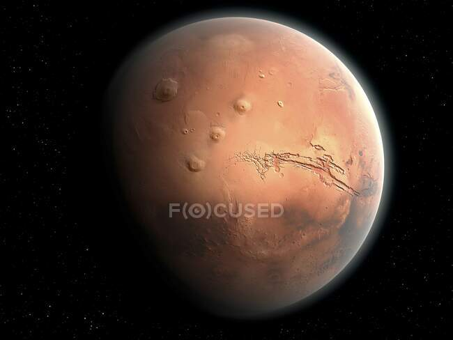 An impression of the Red Planet, Mars, second smallest in the Solar System (after Mercury) — Stock Photo