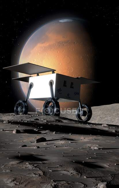 Artwork of the MMX (Mars Moon Exploration) rover on the surface of the innermost Martian moon, Phobos. MMX, developed by JAXA (Japanese Aerospace Exploration Agency) will be launched in 2024 — Stock Photo