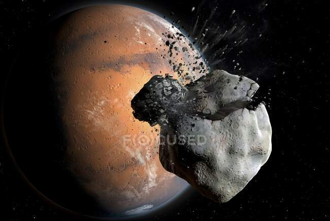 Los astrónomos de la Universidad de Zurich creen que Marte; dos satélites actuales, Phobos y Deimos, son el producto de un impacto a principios de la historia de Marte. Al rastrear sus órbitas en el tiempo, estiman que se originaron desde un solo punto - foto de stock