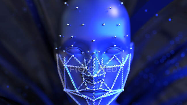Facial recognition, computer illustration — Stock Photo