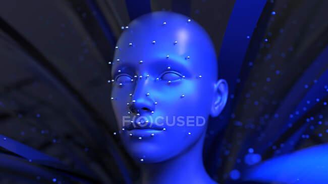 Reconnaissance faciale, illustration par ordinateur — Photo de stock