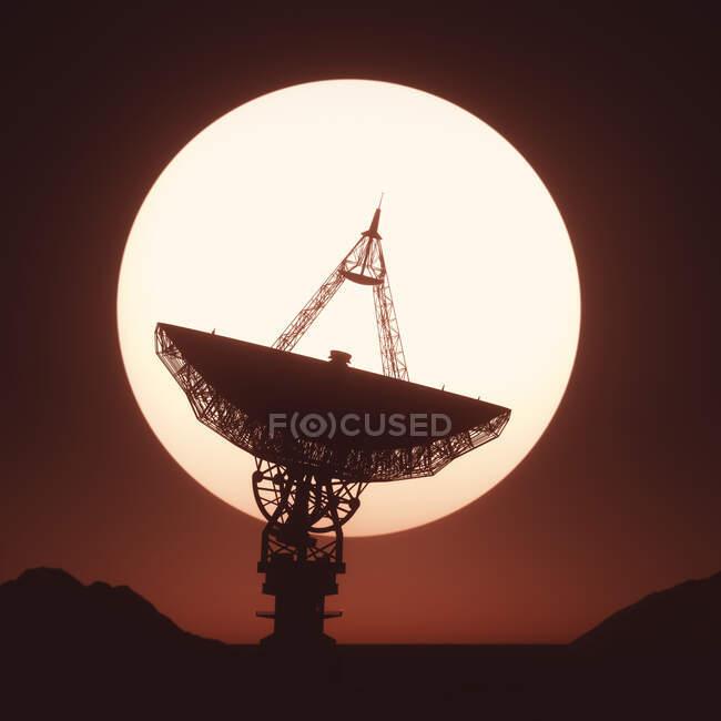 Satellite dish at sunset, illustration. — Stock Photo