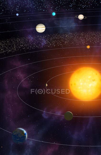 Illustration of the solar system, showing the paths of the eight major planets as they orbit the Sun. The four inner planets are, from inner to outer, Mercury, Venus, Earth and Mars. The four outer planets are, inner to outer, Jupiter, Saturn, Uranus — Stock Photo