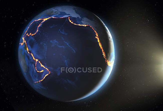 Illustration of the Pacific 'Ring of Fire'. This is a region of tectonic plate boundaries around the Pacific Ocean, where earthquakes and volcanoes are common — Stock Photo