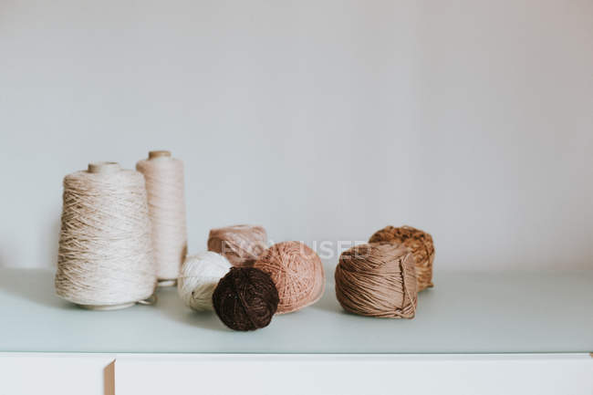 Knitting yarn balls and spools — Stock Photo