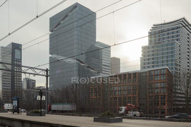 AMSTERDAM, NETHERLANDS - FEBRUARY 9, 2018: Railway station platform in Zuidas business district of city — Stock Photo