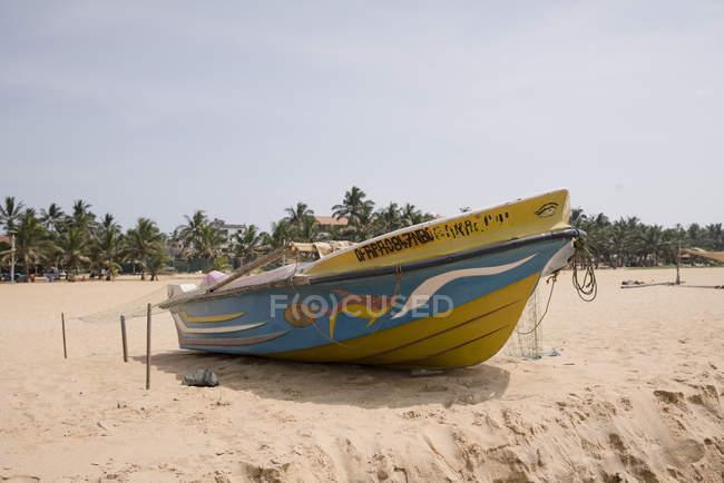 Дерев'яні човни на піщаному пляжі у місті Негомбо, Шрі-Ланка — стокове фото